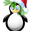 Amusing penguin with SantClaus hat — Stock Vector #37125755