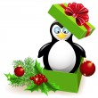 Penguin in Christmas gift box — Stock Vector #37125773