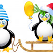 Funny penguins with balloons sledding — Stock Vector