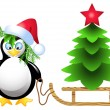 Penguin is transporting Christmas tree — Stock Vector