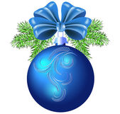 Christmas blue ball with bow and ornament — Stockvector