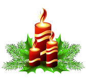 Christmas burning candle — Stock Vector