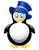 Amusing penguin with blue top hat — Stock Vector