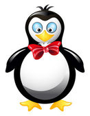 Amusing penguin with red bow — Stock Vector