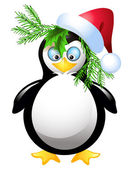 Amusing penguin with Santa Claus hat — Stock Vector