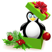 Penguin in the Christmas gift box — Stock Vector