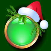Christmas button with spruce and Santa hat — Stockvector