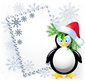 Christmas card with amusing penguin — Stock Vector