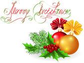 Christmas dekoratif topları ile yay — Stok Vektör