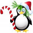 Penguin with Christmas candy — Stock Vector