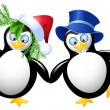 Two funny penguin — Stock Vector