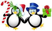 Due divertenti pinguino — Vettoriale Stock