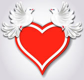 Red heart and two pigeons — Vecteur
