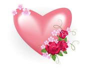 Valentin-herz mit rosen — Stockvektor