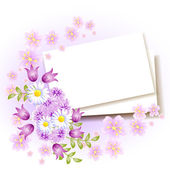 Background with paper and flowers  — Stock Vector