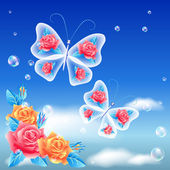 Roses and butterfly  — Vector de stock