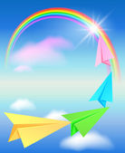 Colorful paper airplane and rainbow — Stock Vector