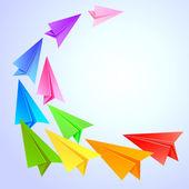 бумажные самолеты, летающие вокруг — Cтоковый вектор