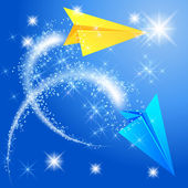 Two paper airplane and glowing stars — Stock Vector