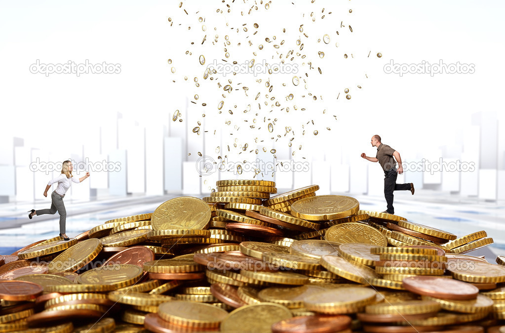 Man and woman run on money hill  Stock Photo #13131394