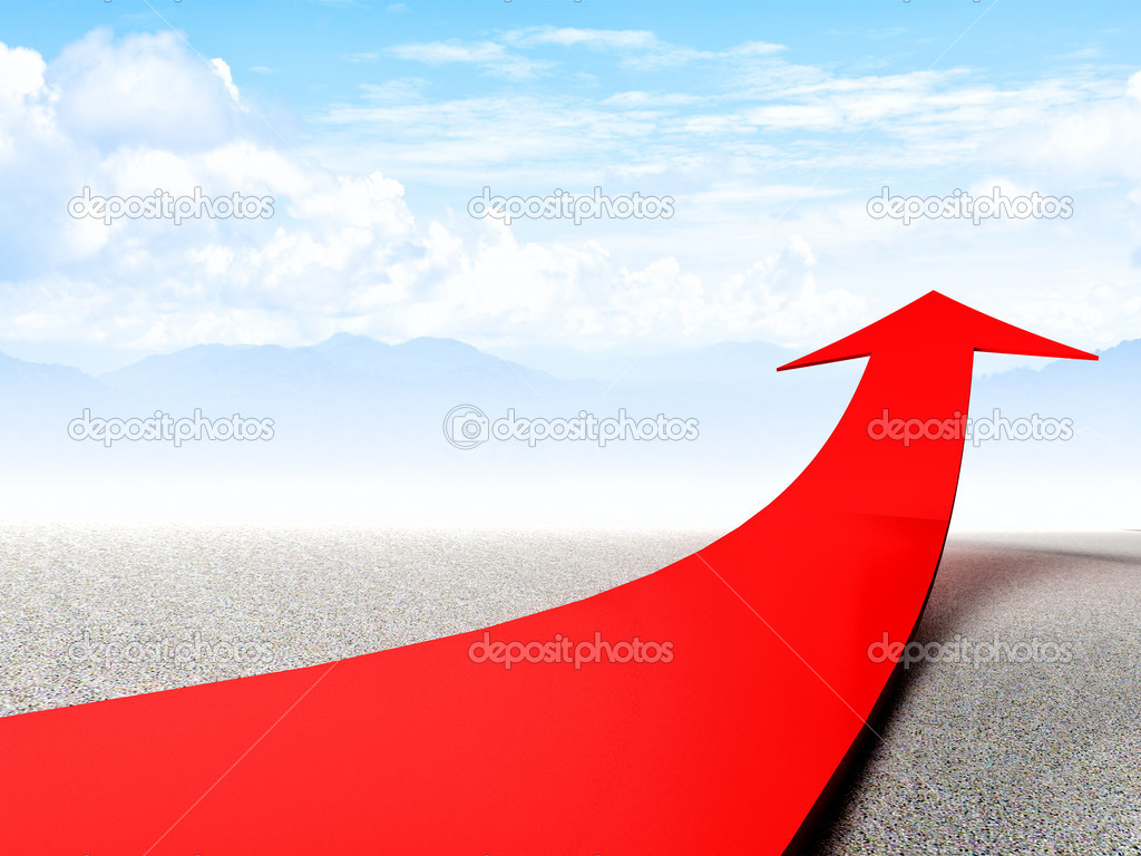 3d image of huge red arrow in abstract landscape  Stock Photo #13250211