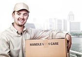 Delivery man worker — Stock Photo