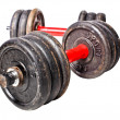 Aged dumbbell — Stock Photo