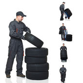 Mechanic on duty collection — 图库照片