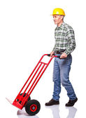 Man with handtruck — Stock Photo