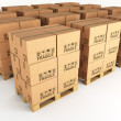 Boxes and pallets — Stockfoto
