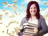 Woman and money — Stock Photo
