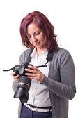 Kvinna fotograf — Stockfoto