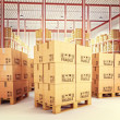 Pallets in warehouse — Stock Photo