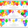 Event banners with colorful balloons — Vettoriali Stock