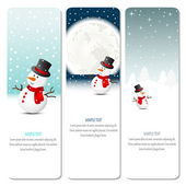 Christmas banners with snowman — Stock Vector