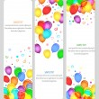 banners del evento con globos de colores — Vector de stock