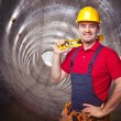 Man in tunnel — Stock Photo