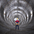 Concrete tunnel and man — Stock Photo