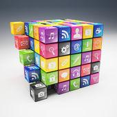 Cube icon set — Stock Photo