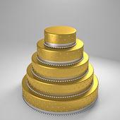 Golden wedding cake — Stock Photo