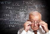 Old man and slang — Stock Photo