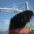Large Cargo Ship is being Loaded — Stock Photo