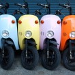 Stock Photo: Colorful Scooters for Rent