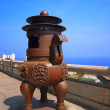 Stock Photo: Large Incense Burner Overlooking Sea