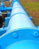 Large Blue Pipeline — Stock Photo