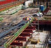 Local de construção de metrô grande — Fotografia Stock