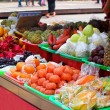 Fruit Stand with a Rich Selection of Tropical Fruits — Стоковая фотография