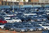 Imported Luxury Cars at Taichung Port — Stock Photo