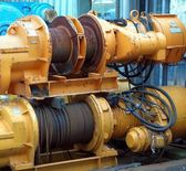 Large Yellow Winch with Steel Cable — Stock Photo