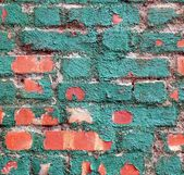Brick Wall with Brittle Green Paint — Stock Photo